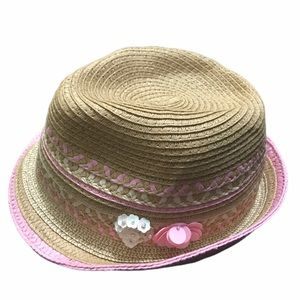 Place Girls Summer Hat Fedora Tan Pink